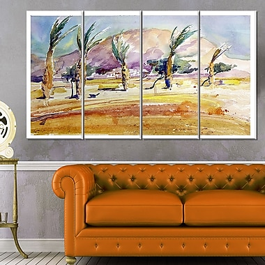 WaterColour Sea and Palm Landscape Metal Wall Art, 48x28, 4 Panels, (MT6353-271)