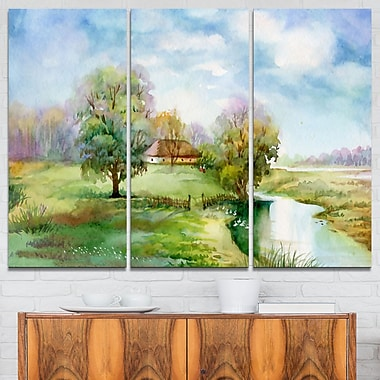Village Life Landscape Metal Wall Art, 36x28, 3 Panels, (MT6354-36-28)