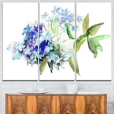Hydrangea Blue Flowers Floral Metal Wall Art, 36x28, 3 Panels, (MT6356-36-28)