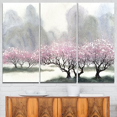 Flowering Trees at Spring Landscape Metal Wall Art, 36x28, 3 Panels, (MT6357-36-28)