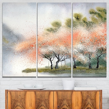 Trees with Flowers Near River Landscape Metal Wall Art, 36x28, 3 Panels, (MT6359-36-28)