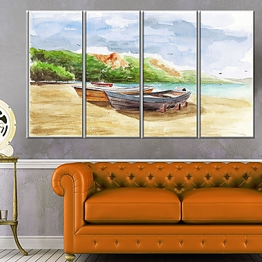 WaterColour Fishing Boats Landscape Metal Wall Art, 48x28, 4 Panels, (MT6360-271)