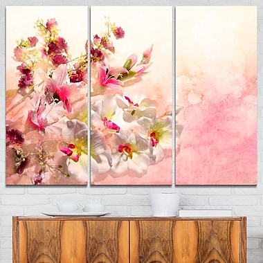 Pink Bouquet of Flowers Floral Metal Wall Art, 36x28, 3 Panels, (MT6362-36-28)