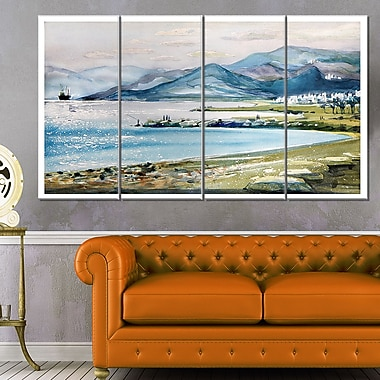 Blue Hills Over Sea Landscape Metal Wall Art