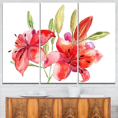 Lily Flowers Illustration Floral Metal Wall Art