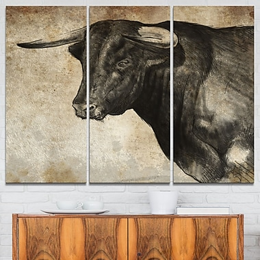 Spanish Bull Sketch Animal, art mural en métal, 36 x 28, 3 panneaux (MT6368-36-28)