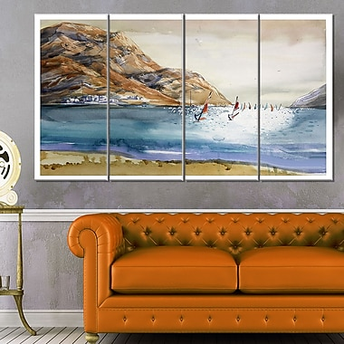 Mountains in Sea Seascape Metal Wall Art, 48x28, 4 Panels, (MT6371-271)