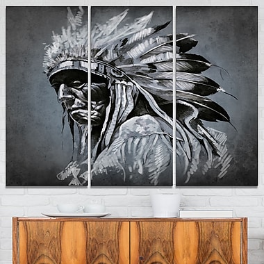 American Indian Tattoo Portrait Metal Wall Art, 36x28, 3 Panels, (MT6372-36-28)