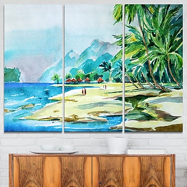 View from Shore Landscape Metal Wall Art, 36x28, 3 Panels, (MT6373-36-28)