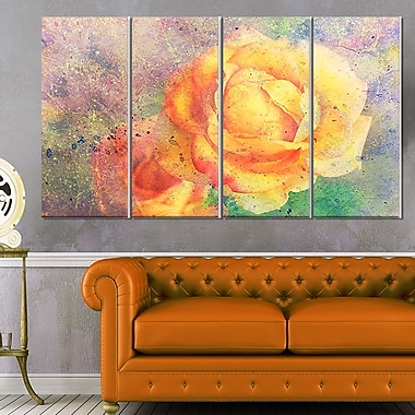 Yellow Rose WaterColour, art mural floral en métal, 48 x 28, 4 panneaux (MT6375-271)