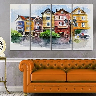 Little City in WaterColour Landscape Metal Wall Art, 48x28, 4 Panels, (MT6378-271)