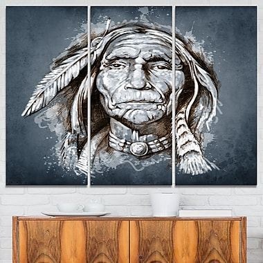 Sketch of Tattoo American Indian Portrait Metal Wall Art, 36x28, 3 Panel, (MT6383-36-28)
