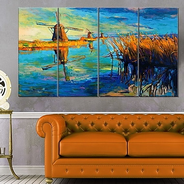 Windmills with Sky and Water Landscape Metal Wall Art