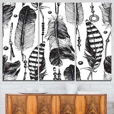 Hand drawn Feathers Metal Wall Art, 36x28, 3 Panels, (MT6386-36-28)