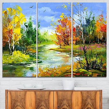 Fusion of Autumn Shades Landscape Metal Wall Art, 36x28, 3 Panels, (MT6388-36-28)