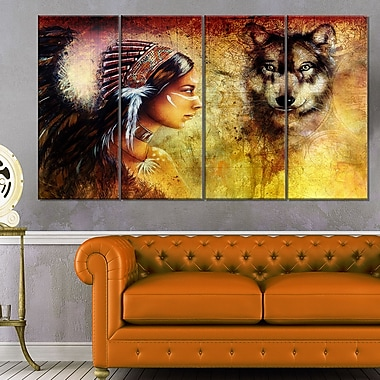 Woman with Wolf Portrait Metal Wall Art, 48x28, 4 Panels, (MT6395-271)