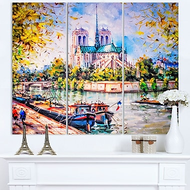 Notre Dame Paris Landscape Metal Wall Art, 36x28, 3 Panels, (MT6398-36-28)