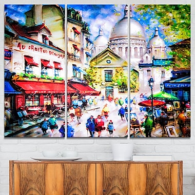 Sacre Coeur and Montmartre Cityscape Metal Wall Art, 36x28, 3 Panels, (MT6402-36-28)