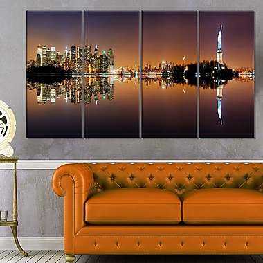 Manhattan City Panorama Cityscape Metal Wall Art, 48x28, 4 Panels, (MT6404-271)