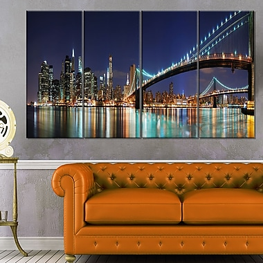 Brooklyn Bridge Panorama Cityscape Photo Metal Wall Art, 48x28, 4 Panels, (MT6405-271)