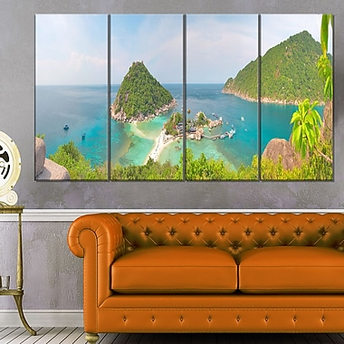 Tropical Island Panorama Landscape Photo Metal Wall Art,48x28, 4 Panels, (MT6407-271)