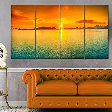 Art mural en métal, photographie de panorama, coucher de soleil, 48 x 28 po, 4 panneaux (MT6408-271)