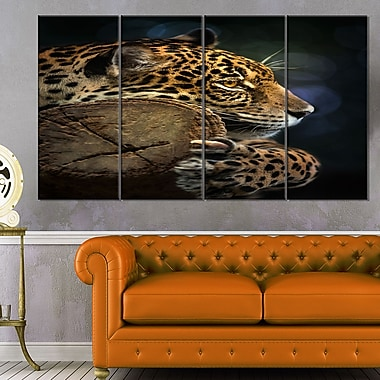 Relaxing Jaguar Animal Photography Metal Wall Art, 48x28, 4 Panels, (MT6410-271)
