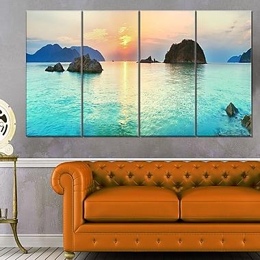 Art mural en métal, photographie de panorama marin, lever de soleil, 48 x 28 po, 4 panneaux, (MT6413-271)