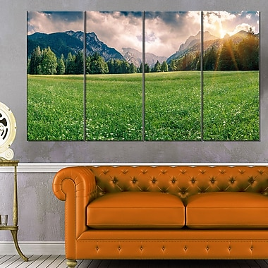Triglav Mountain Panorama Landscape Metal Wall Art, 48x28, 4 Panels, (MT6416-271)