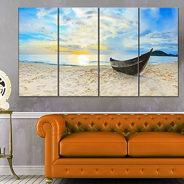 Calm Beach Panorama Photo Metal Wall Art, 48x28, 4 Panels, (MT6417-271)