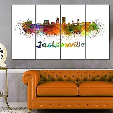 Jacksonville Skyline Cityscape Metal Wall Art, 48x28, 4 Panels, (MT6418-271)