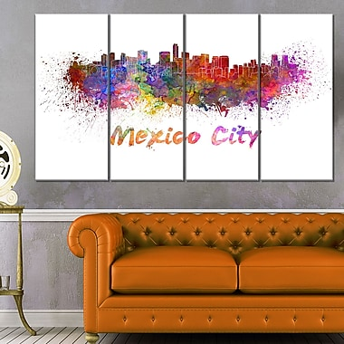 Mexico City Skyline Cityscape Metal Wall Art, 48x28, 4 Panels, (MT6419-271)