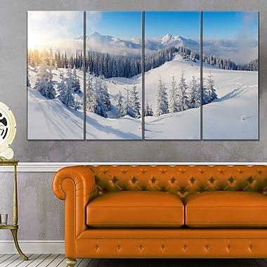 Art mural en métal, photographie de panorama, montagnes d'hiver, 48 x 28 po, 4 panneaux, (MT6420-271)