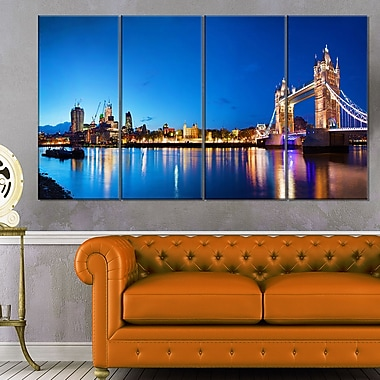 Tower Bridge London Cityscape Photo Metal Wall Art, 48x28, 4 Panels, (MT6422-271)