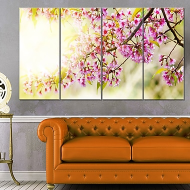 Blooming Cherry Flowers Floral Metal Wall Art, 48x28, 4 Panels, (MT6423-271)
