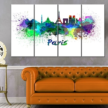 Paris Skyline Cityscape Metal Wall Art, 48x28, 4 Panels, (MT6425-271)