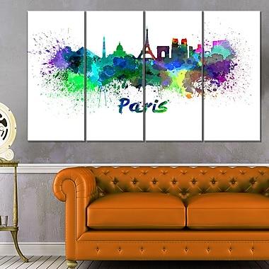 Art mural en métal, paysage urbain, ligne d'horizon de Paris, 48 x 28, 4 panneaux (MT6425-271)