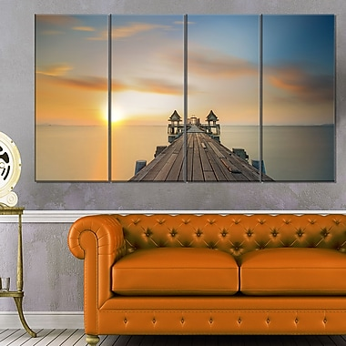 Infinity Bridge Seascape Photography Metal Wall Art, 48x28, 4 Panels, (MT6427-271)