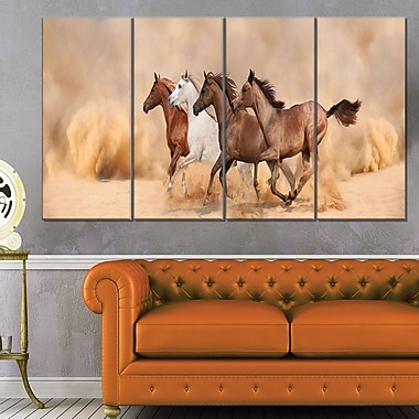 Herd Gallops in Sand Storm Landscape Metal Wall Art, 48x28, 4 Panels, (MT6428-271)