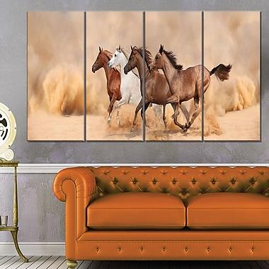 Art mural en métal, chevaux au galop dans une tempête de sable, 48 x 28, 4 panneaux (MT6428-271)