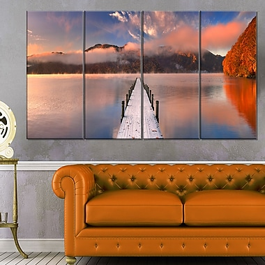 Jetty in Lake Japan Seascape Photography Metal Wall Art, 48x28, 4 Panels, (MT6429-271)