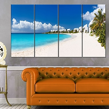 Caribbean Beach Panorama Landscape Photo Metal Wall Art, 48x28, 4 Panels, (MT6430-271)