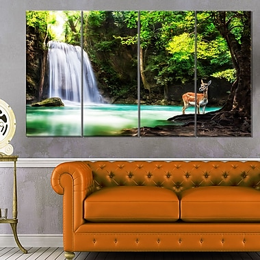 Erawan Waterfall Landscape Photo Metal Wall Art, 48x28, 4 Panels, (MT6431-271)