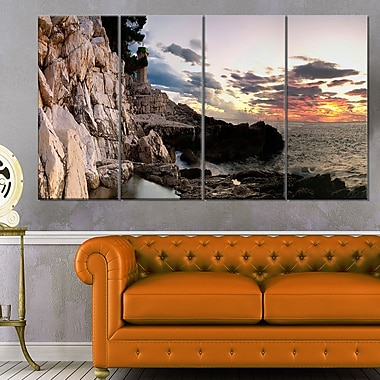 Adiratic Sunset Landscape Photography Metal Wall Art, 48x28, 4 Panels, (MT6434-271)