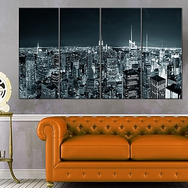 New York City Skyline at Night Cityscape Metal Wall Art, 48x28, 4 Panels, (MT6436-271)