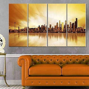 Seattle Panorama Landscape Photography Metal Wall Art, 48x28, 4 Panels, (MT6437-271)