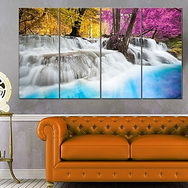 Erawan Waterfall Landscape Photography Metal Wall Art, 48x28, 4 Panels, (MT6439-271)