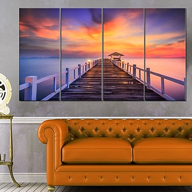 Wooden Bridge Landscape Photography Metal Wall Art, 48x28, 4 Panels, (MT6440-271)