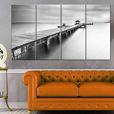 Wooden Sea Bridge Seascape Photography Metal Wall Art, 48x28, 4 Panels, (MT6454-271)