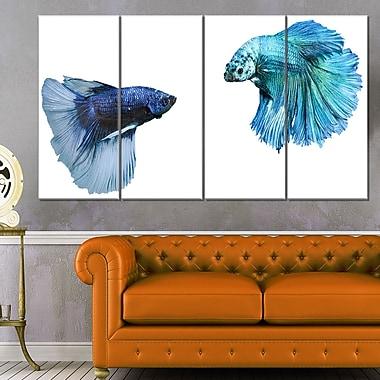 Art mural en métal, poissons combattants, art numérique, 48 x 28, 4 panneaux (MT6459-271)